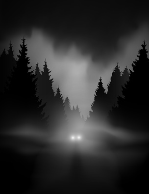 car on dark road at night through misty forest editable vector