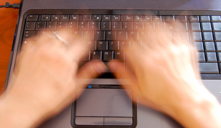 Hands on keyboard, fast typing